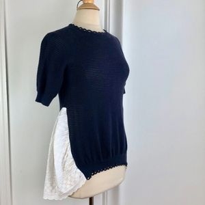 French Connection Navy Blue & White Sweater XS